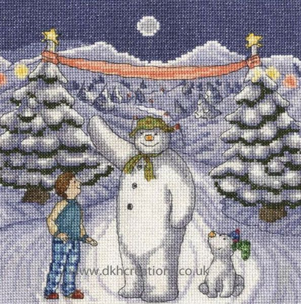 The Snowman and Snowdog The Finish Line Cross Stitch Kit